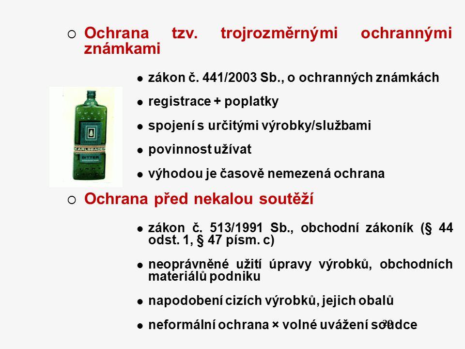 29  Ochrana tzv. trojrozměrnými ochrannými známkami zákon č. 441/2003 Sb., o ochranných známkách registrace + poplatky spojení s určitými výrobky/slu