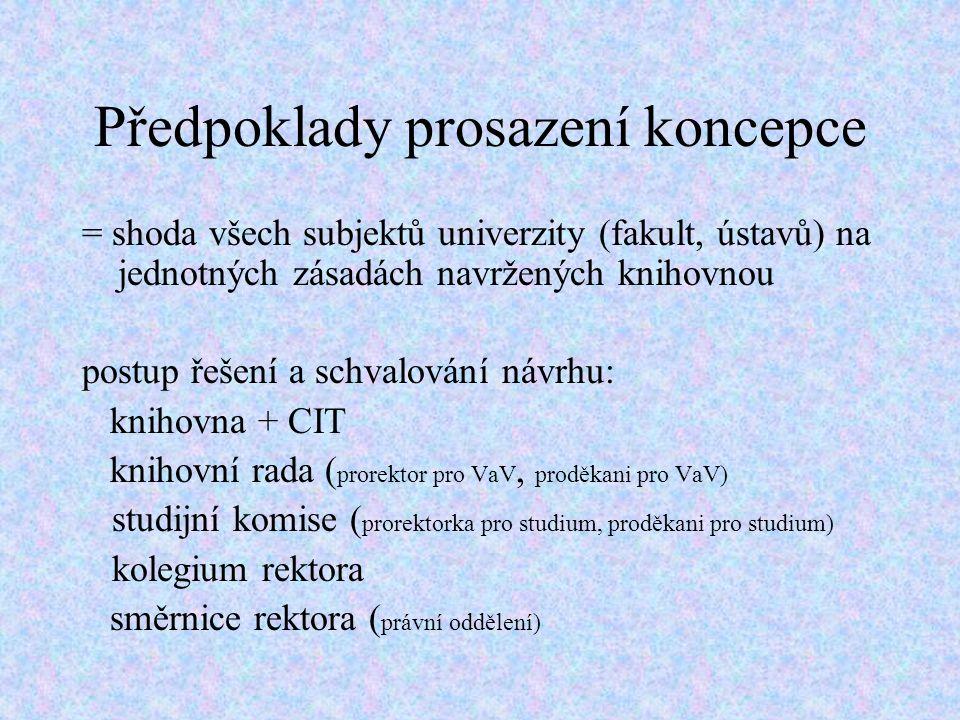 Předpoklady prosazení koncepce = shoda všech subjektů univerzity (fakult, ústavů) na jednotných zásadách navržených knihovnou postup řešení a schvalování návrhu: knihovna + CIT knihovní rada ( prorektor pro VaV, proděkani pro VaV) studijní komise ( prorektorka pro studium, proděkani pro studium) kolegium rektora směrnice rektora ( právní oddělení)