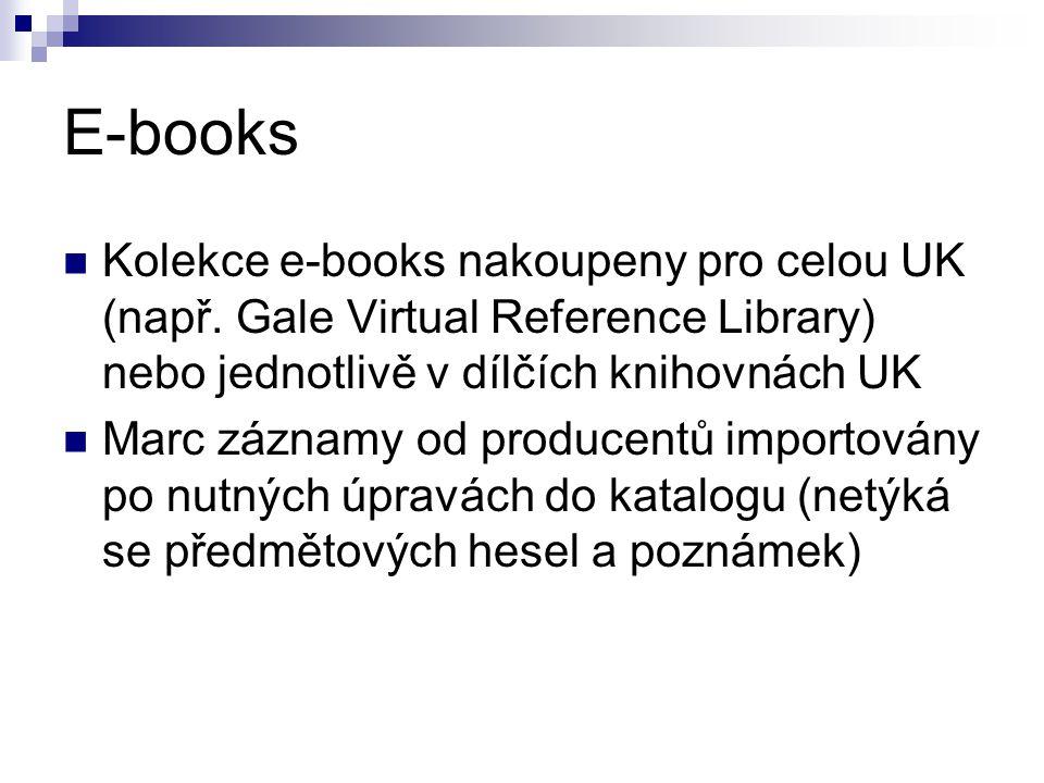 E-books Kolekce e-books nakoupeny pro celou UK (např.