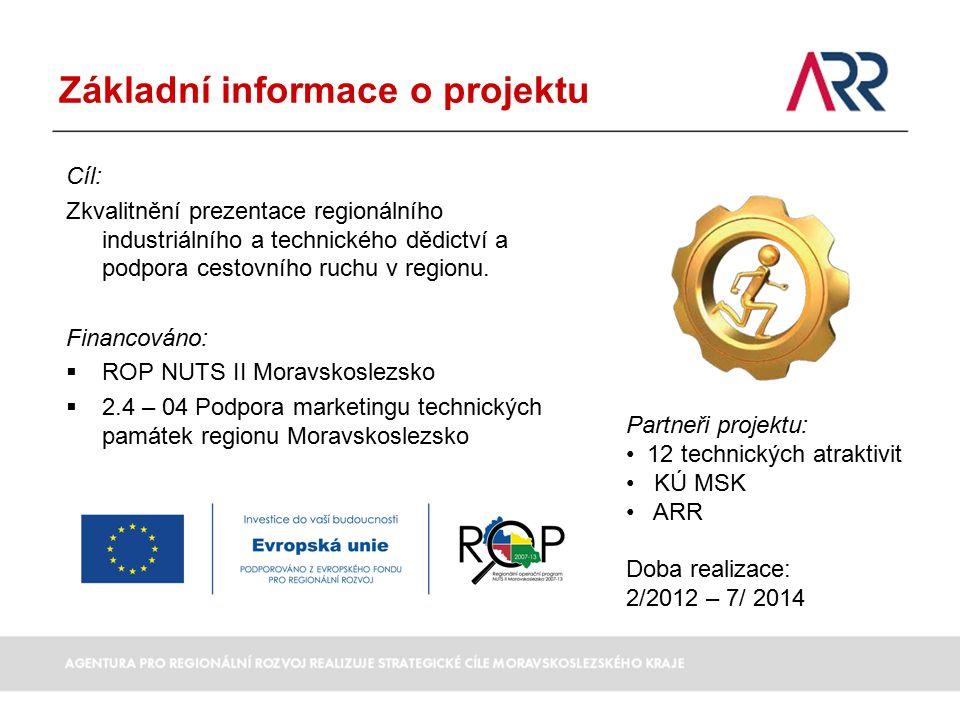 Základní informace o projektu Cíl: Zkvalitnění prezentace regionálního industriálního a technického dědictví a podpora cestovního ruchu v regionu.