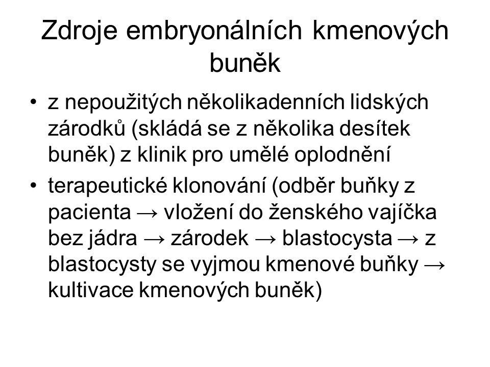 Zdroje embryonálních kmenových buněk z nepoužitých několikadenních lidských zárodků (skládá se z několika desítek buněk) z klinik pro umělé oplodnění terapeutické klonování (odběr buňky z pacienta → vložení do ženského vajíčka bez jádra → zárodek → blastocysta → z blastocysty se vyjmou kmenové buňky → kultivace kmenových buněk)