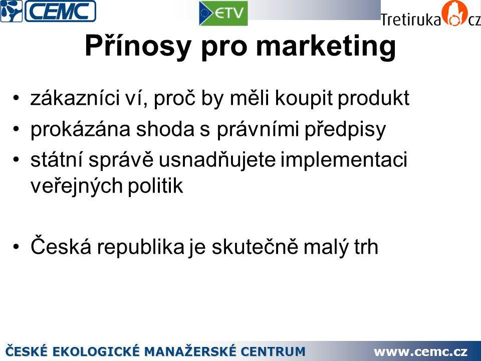 Přínosy pro marketing zákazníci ví, proč by měli koupit produkt prokázána shoda s právními předpisy státní správě usnadňujete implementaci veřejných politik Česká republika je skutečně malý trh ČESKÉ EKOLOGICKÉ MANAŽERSKÉ CENTRUM www.cemc.cz