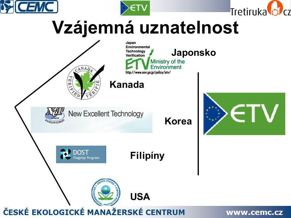 Vzájemná uznatelnost Kanada Korea Filipíny USA Japonsko ČESKÉ EKOLOGICKÉ MANAŽERSKÉ CENTRUM www.cemc.cz