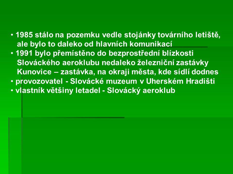 1985 stálo na pozemku vedle stojánky továrního letiště, ale bylo to daleko od hlavních komunikací 1991 bylo přemístěno do bezprostřední blízkosti Slováckého aeroklubu nedaleko železniční zastávky Kunovice – zastávka, na okraji města, kde sídlí dodnes provozovatel - Slovácké muzeum v Uherském Hradišti vlastník většiny letadel - Slovácký aeroklub