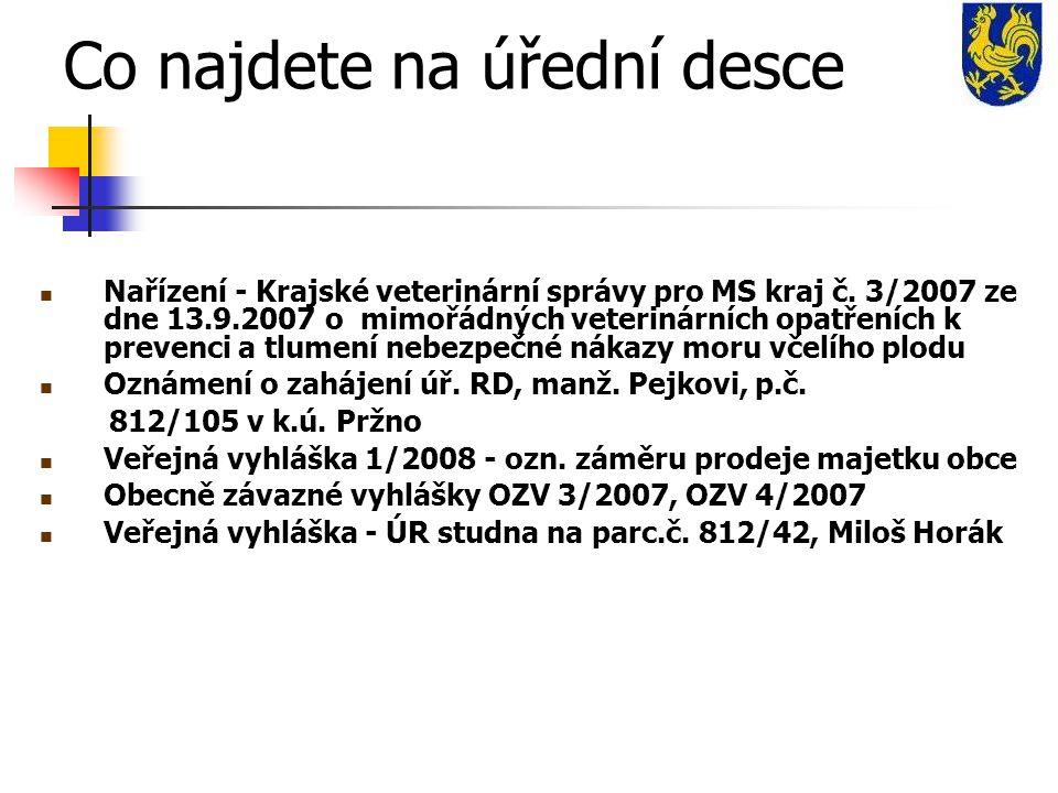 Co najdete na úřední desce Nařízení - Krajské veterinární správy pro MS kraj č.