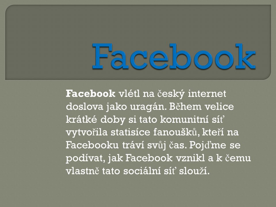 Facebook vlétl na č eský internet doslova jako uragán.