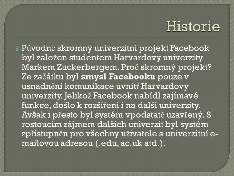  P ů vodn ě skromný univerzitní projekt Facebook byl zalo ž en studentem Harvardovy univerzity Markem Zuckerbergem. Pro č skromný projekt? Ze za č át