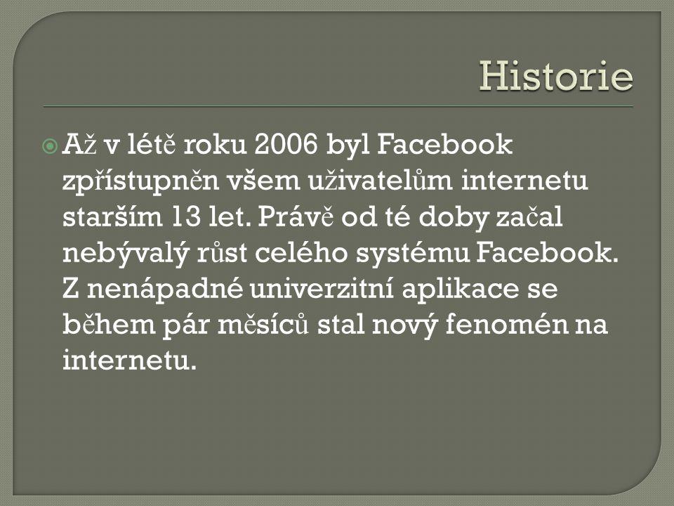  A ž v lét ě roku 2006 byl Facebook zp ř ístupn ě n všem u ž ivatel ů m internetu starším 13 let. Práv ě od té doby za č al nebývalý r ů st celého sy