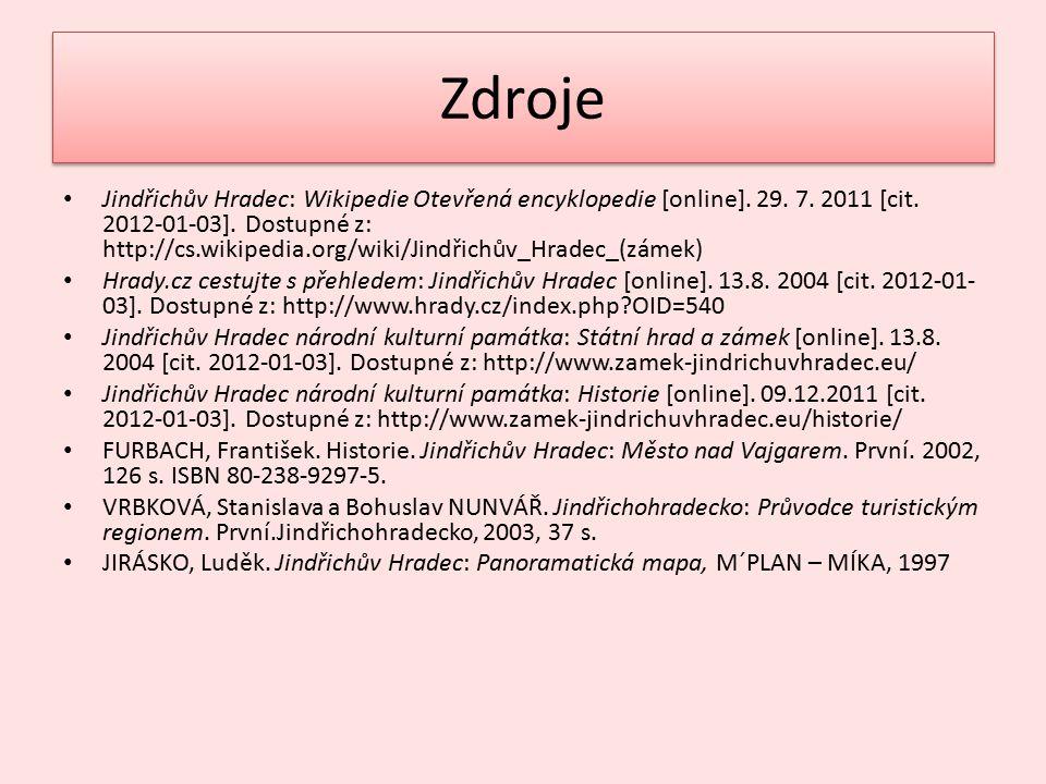 Zdroje Jindřichův Hradec: Wikipedie Otevřená encyklopedie [online]. 29. 7. 2011 [cit. 2012-01-03]. Dostupné z: http://cs.wikipedia.org/wiki/Jindřichův