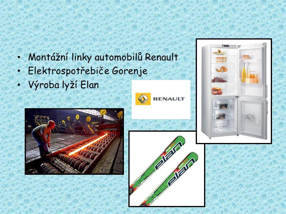 Montážní linky automobilů Renault Elektrospotřebiče Gorenje Výroba lyží Elan
