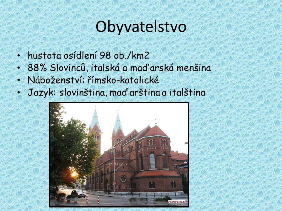 Obyvatelstvo hustota osídlení 98 ob./km2 88% Slovinců, italská a maďarská menšina Náboženství: římsko-katolické Jazyk: slovinština, maďarština a italština