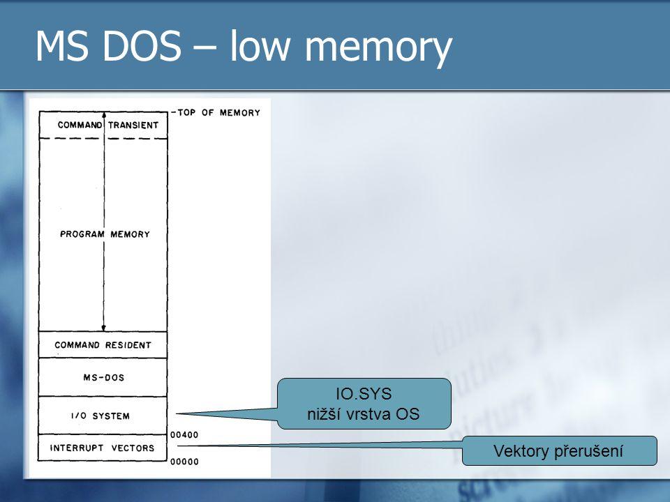 MS DOS – low memory Vektory přerušení IO.SYS nižší vrstva OS