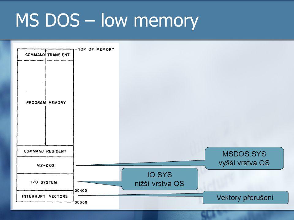 MS DOS – low memory Vektory přerušení IO.SYS nižší vrstva OS MSDOS.SYS vyšší vrstva OS