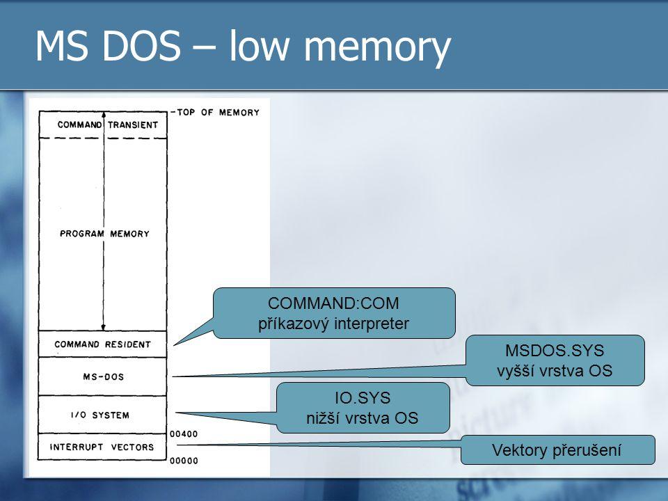 MS DOS – low memory Vektory přerušení IO.SYS nižší vrstva OS MSDOS.SYS vyšší vrstva OS COMMAND:COM příkazový interpreter