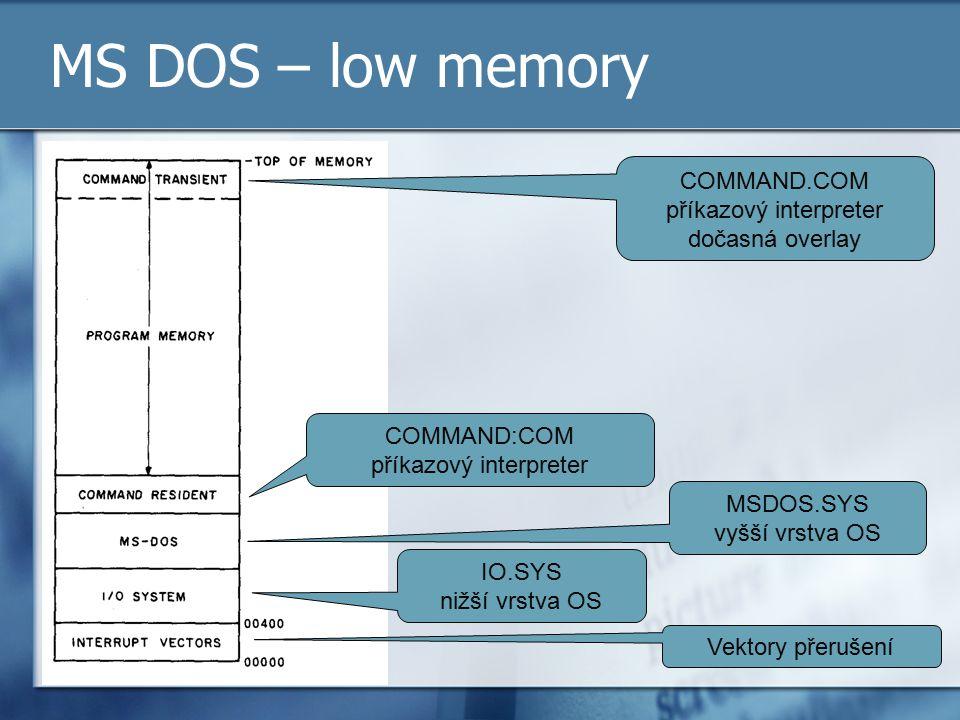 MS DOS – low memory Vektory přerušení IO.SYS nižší vrstva OS MSDOS.SYS vyšší vrstva OS COMMAND:COM příkazový interpreter COMMAND.COM příkazový interpr