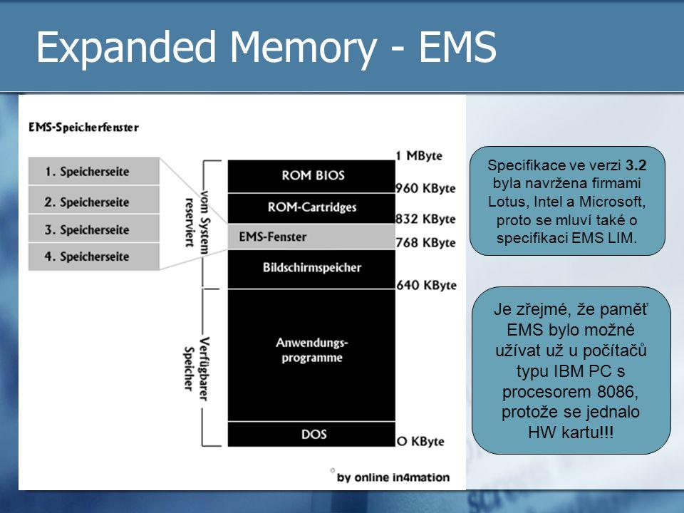 Expanded Memory - EMS Specifikace ve verzi 3.2 byla navržena firmami Lotus, Intel a Microsoft, proto se mluví také o specifikaci EMS LIM. Je zřejmé, ž