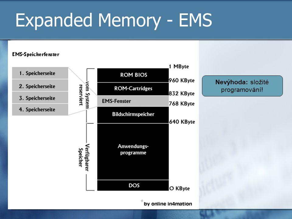 Expanded Memory - EMS Nevýhoda: složité programování!