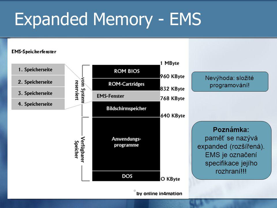 Expanded Memory - EMS Nevýhoda: složité programování! Poznámka: paměť se nazývá expanded (rozšířená). EMS je označení specifikace jejího rozhraní!!!