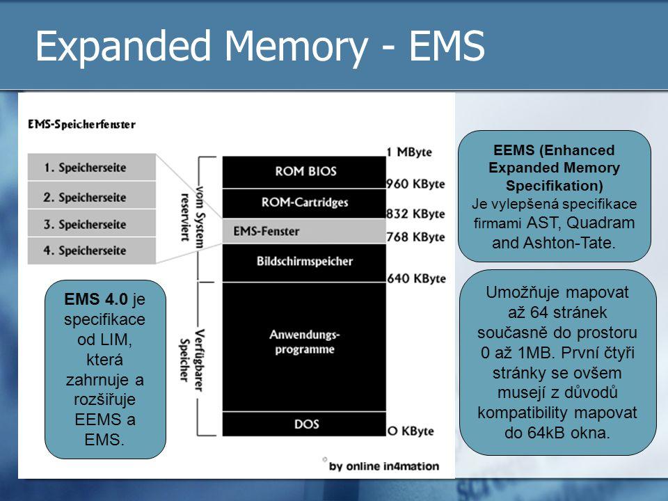 Expanded Memory - EMS EEMS (Enhanced Expanded Memory Specifikation) Je vylepšená specifikace firmami AST, Quadram and Ashton-Tate. Umožňuje mapovat až