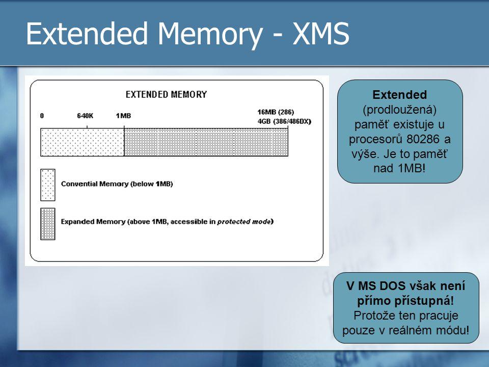 Extended Memory - XMS Extended (prodloužená) paměť existuje u procesorů 80286 a výše. Je to paměť nad 1MB! V MS DOS však není přímo přístupná! Protože