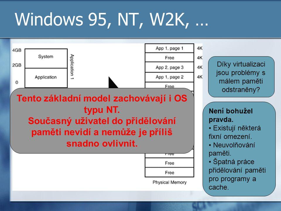 Windows 95, NT, W2K, … Díky virtualizaci jsou problémy s málem paměti odstraněny? Není bohužel pravda. Existují některá fixní omezení. Neuvolňování pa