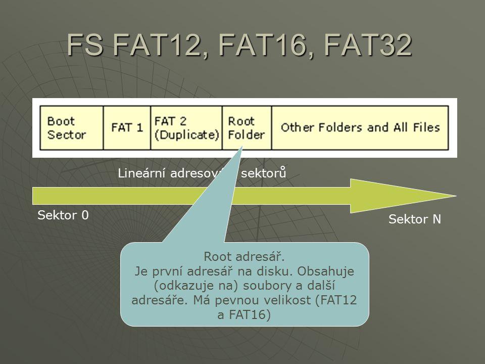 FS FAT12, FAT16, FAT32 Lineární adresování sektorů Sektor N Sektor 0 Root adresář. Je první adresář na disku. Obsahuje (odkazuje na) soubory a další a