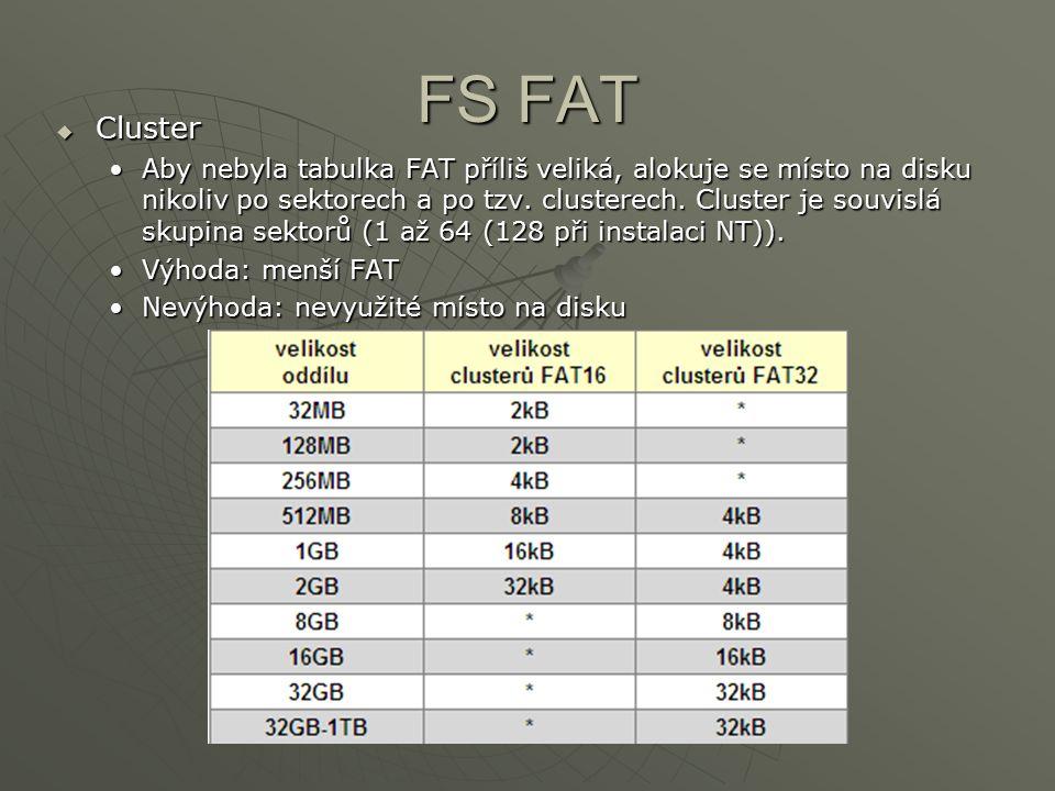 FS FAT  Cluster Aby nebyla tabulka FAT příliš veliká, alokuje se místo na disku nikoliv po sektorech a po tzv. clusterech. Cluster je souvislá skupin