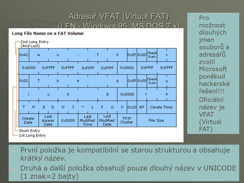 Adresář VFAT (Virtual FAT) (LFN - Windows 95, MS DOS 7.x)  První položka je kompatibilní se starou strukturou a obsahuje krátký název.  Druhá a dalš