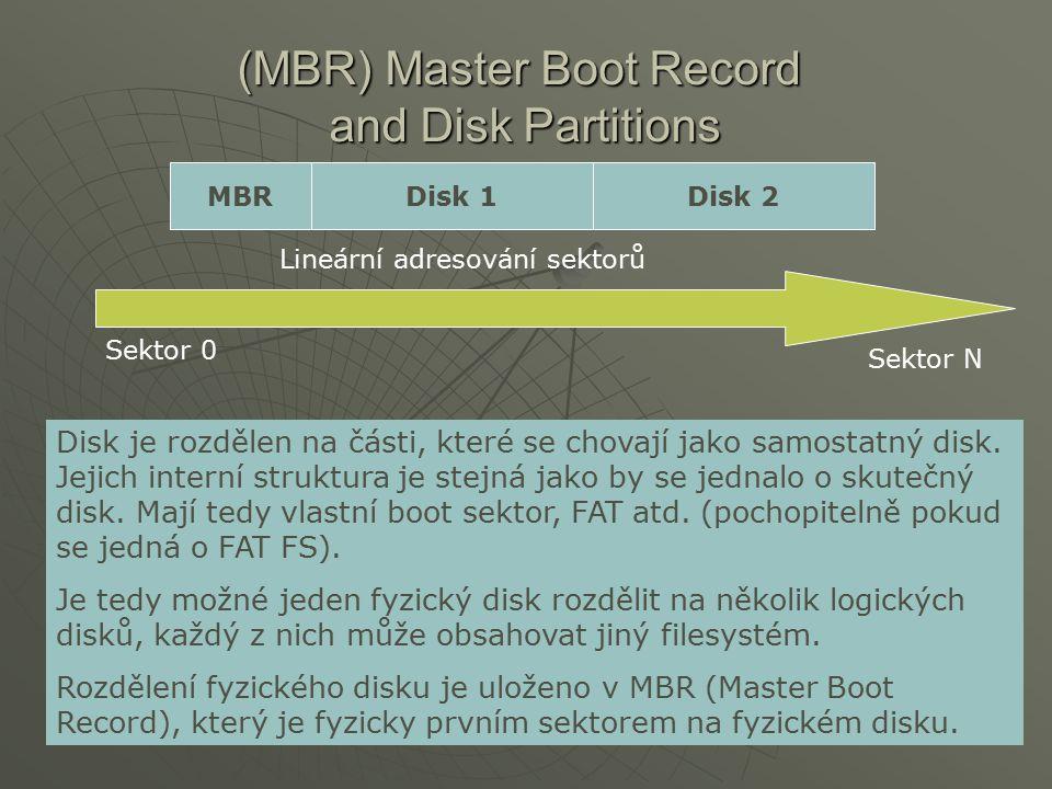 (MBR) Master Boot Record and Disk Partitions MBRDisk 1Disk 2 Disk je rozdělen na části, které se chovají jako samostatný disk. Jejich interní struktur