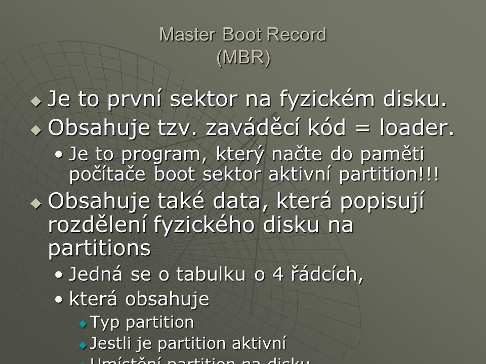 Master Boot Record (MBR)  Je to první sektor na fyzickém disku.  Obsahuje tzv. zaváděcí kód = loader. Je to program, který načte do paměti počítače