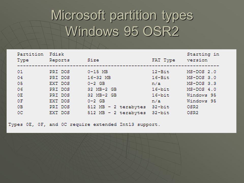 Microsoft partition types Windows 95 OSR2