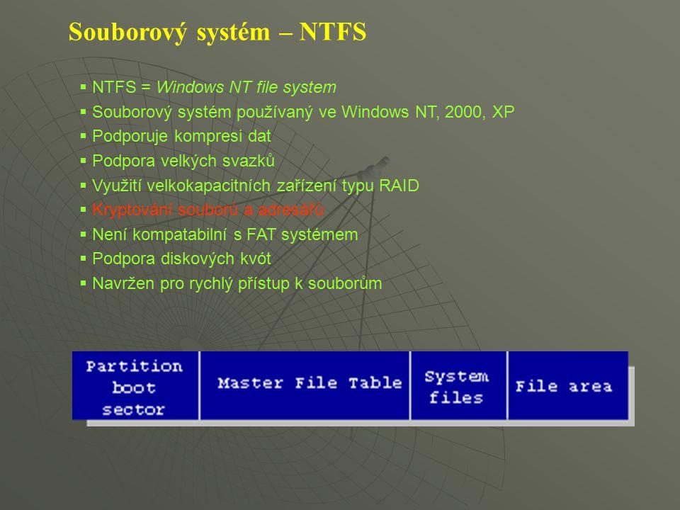 Souborový systém – NTFS  NTFS = Windows NT file system  Souborový systém používaný ve Windows NT, 2000, XP  Podporuje kompresi dat  Podpora velkýc