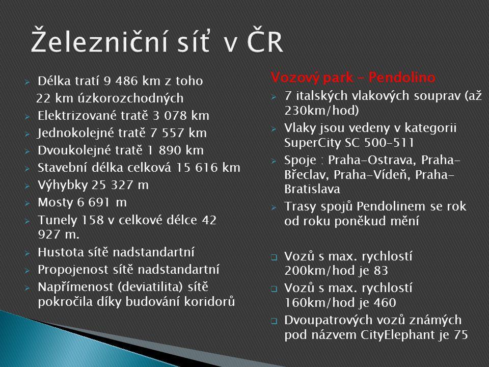  Délka tratí 9 486 km z toho 22 km úzkorozchodných  Elektrizované tratě 3 078 km  Jednokolejné tratě 7 557 km  Dvoukolejné tratě 1 890 km  Stavební délka celková 15 616 km  Výhybky 25 327 m  Mosty 6 691 m  Tunely 158 v celkové délce 42 927 m.