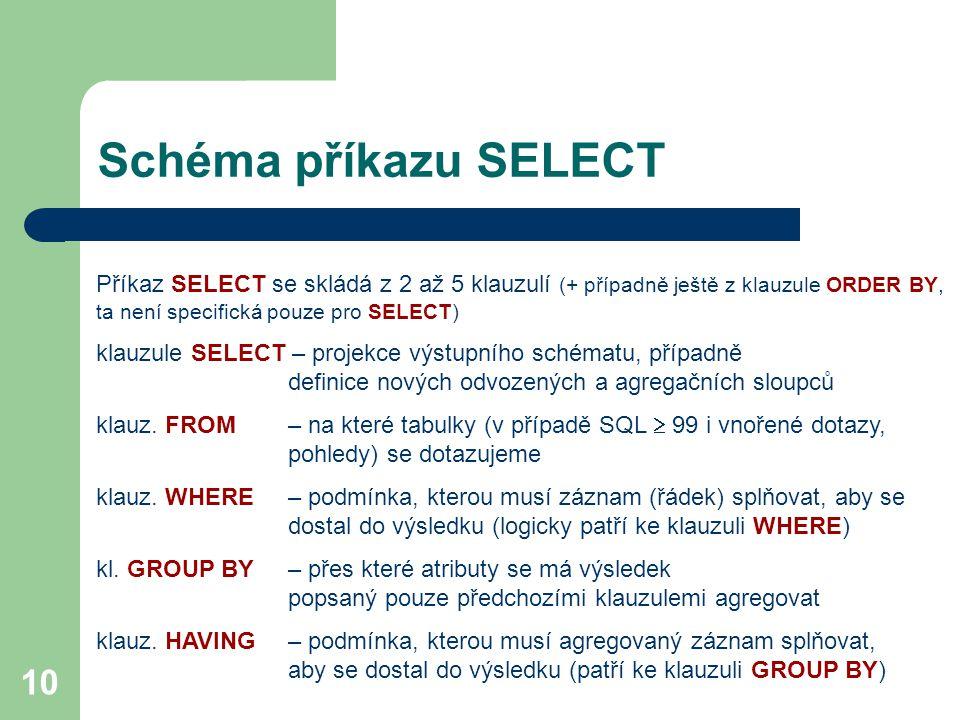10 Schéma příkazu SELECT Příkaz SELECT se skládá z 2 až 5 klauzulí (+ případně ještě z klauzule ORDER BY, ta není specifická pouze pro SELECT) klauzul