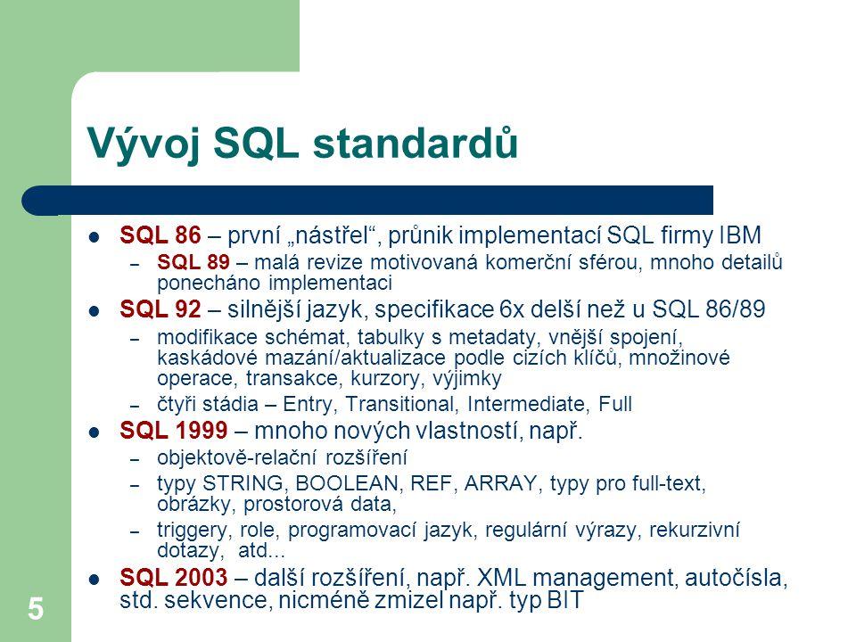 """5 Vývoj SQL standardů SQL 86 – první """"nástřel"""", průnik implementací SQL firmy IBM – SQL 89 – malá revize motivovaná komerční sférou, mnoho detailů pon"""