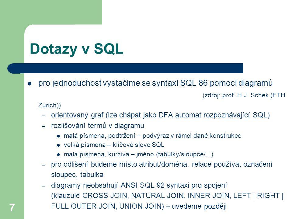 7 Dotazy v SQL pro jednoduchost vystačíme se syntaxí SQL 86 pomocí diagramů (zdroj: prof. H.J. Schek (ETH Zurich)) – orientovaný graf (lze chápat jako