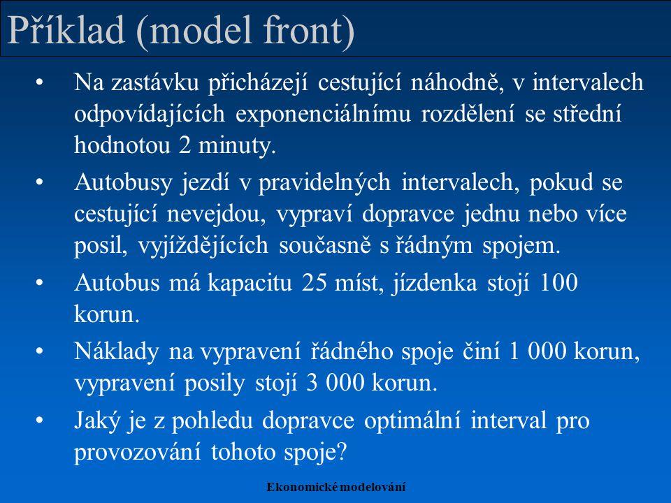Ekonomické modelování Příklad (model front) Na zastávku přicházejí cestující náhodně, v intervalech odpovídajících exponenciálnímu rozdělení se střední hodnotou 2 minuty.