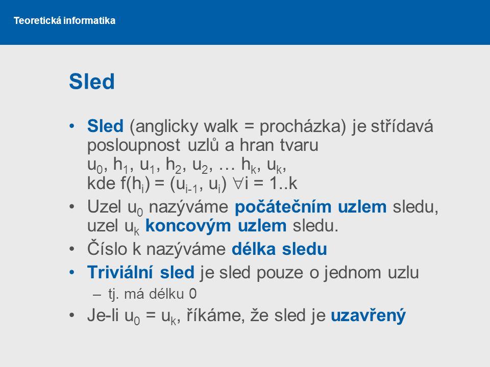 Teoretická informatika Sled Sled (anglicky walk = procházka) je střídavá posloupnost uzlů a hran tvaru u 0, h 1, u 1, h 2, u 2, … h k, u k, kde f(h i