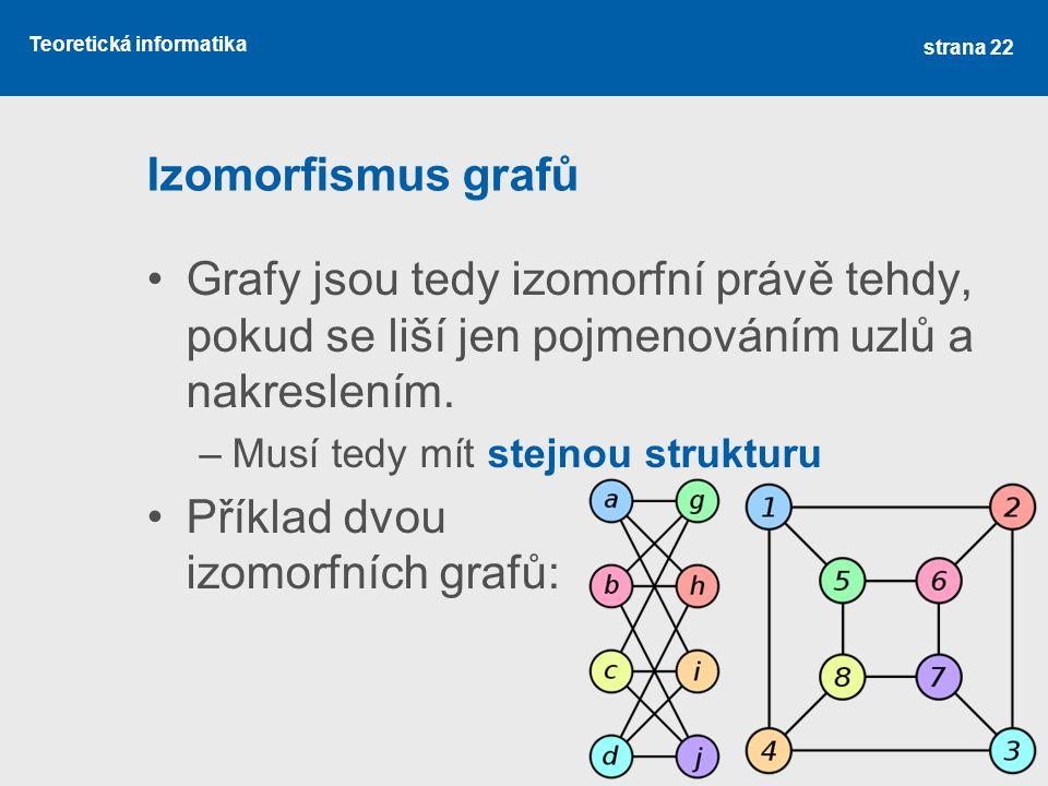 Teoretická informatika Izomorfismus grafů Grafy jsou tedy izomorfní právě tehdy, pokud se liší jen pojmenováním uzlů a nakreslením. –Musí tedy mít ste