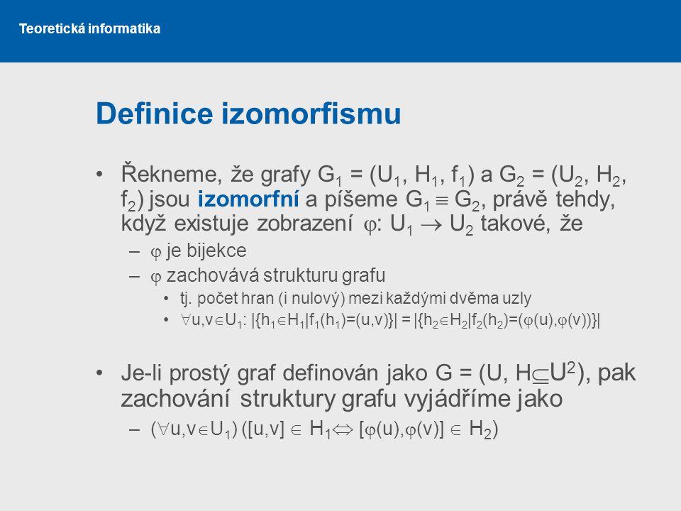Teoretická informatika Definice izomorfismu Řekneme, že grafy G 1 = (U 1, H 1, f 1 ) a G 2 = (U 2, H 2, f 2 ) jsou izomorfní a píšeme G 1  G 2, právě