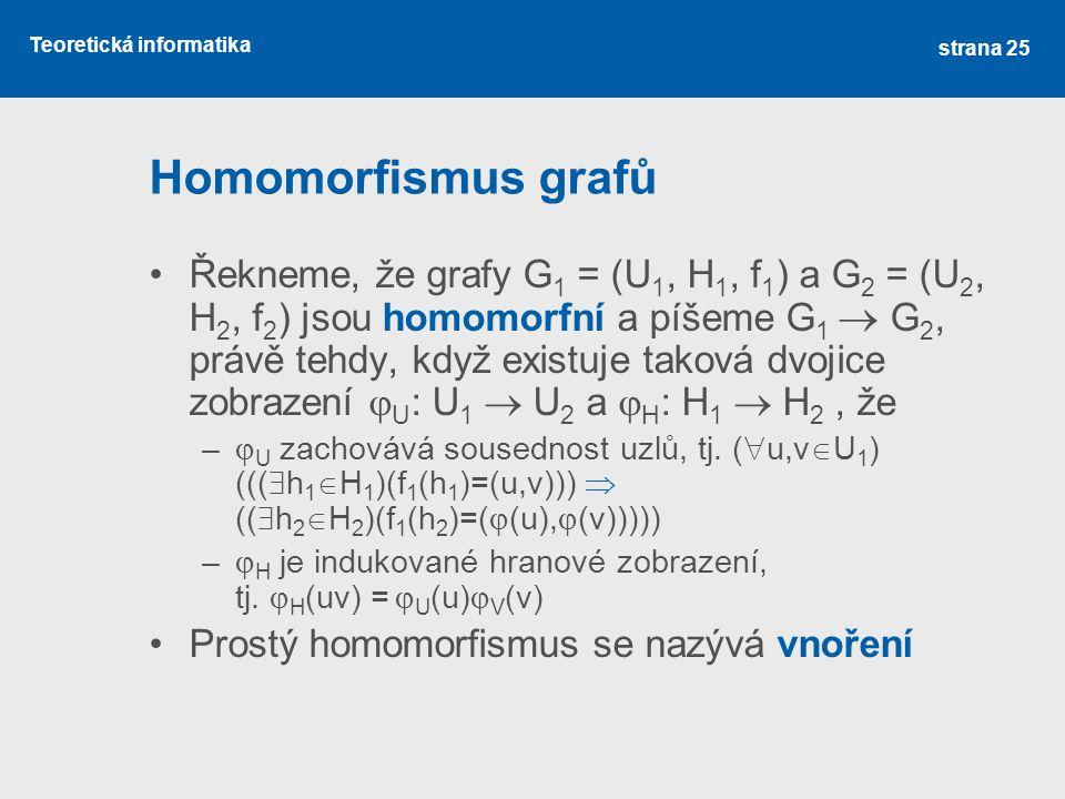 Teoretická informatika Homomorfismus grafů Řekneme, že grafy G 1 = (U 1, H 1, f 1 ) a G 2 = (U 2, H 2, f 2 ) jsou homomorfní a píšeme G 1  G 2, právě