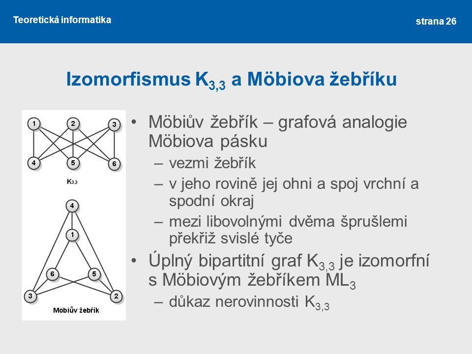 Teoretická informatika Izomorfismus K 3,3 a Möbiova žebříku Möbiův žebřík – grafová analogie Möbiova pásku –vezmi žebřík –v jeho rovině jej ohni a spo