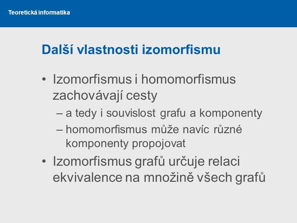 Teoretická informatika Další vlastnosti izomorfismu Izomorfismus i homomorfismus zachovávají cesty –a tedy i souvislost grafu a komponenty –homomorfis