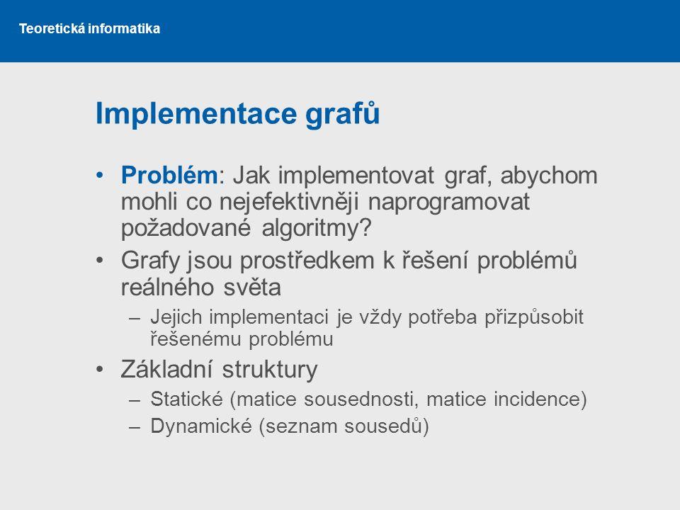 Teoretická informatika Implementace grafů Problém: Jak implementovat graf, abychom mohli co nejefektivněji naprogramovat požadované algoritmy? Grafy j