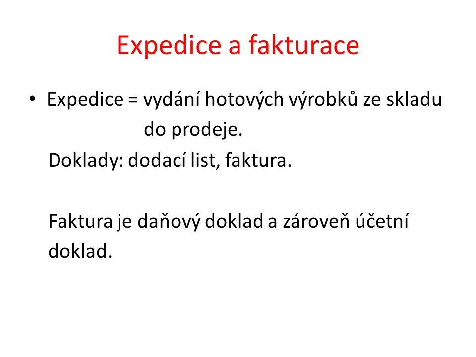 Expedice a fakturace Expedice = vydání hotových výrobků ze skladu do prodeje.