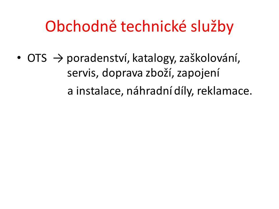 Obchodně technické služby OTS → poradenství, katalogy, zaškolování, servis, doprava zboží, zapojení a instalace, náhradní díly, reklamace.
