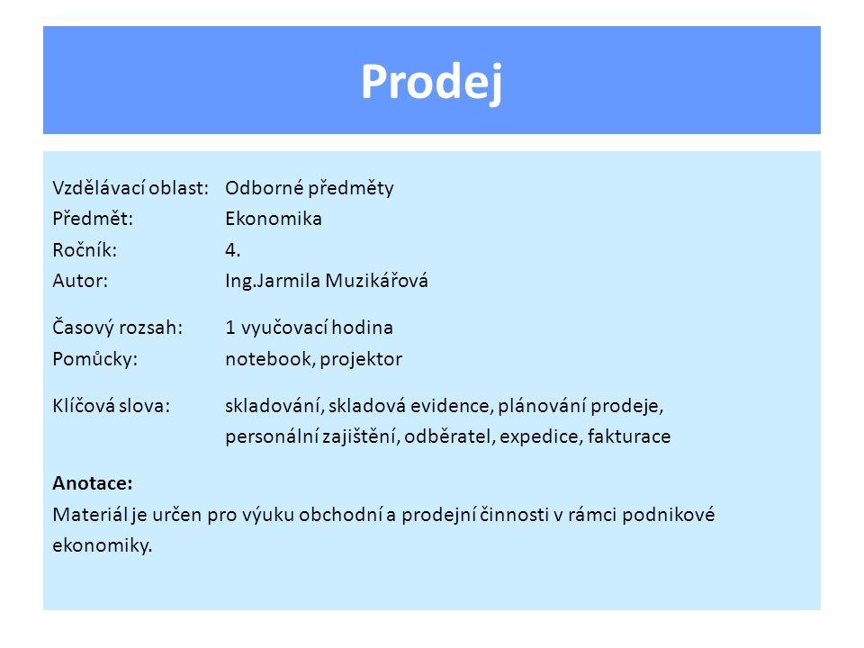 Prodej Vzdělávací oblast:Odborné předměty Předmět:Ekonomika Ročník:4.