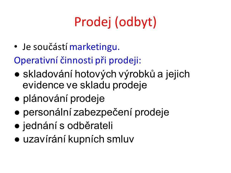 Prodej (odbyt) Je součástí marketingu.