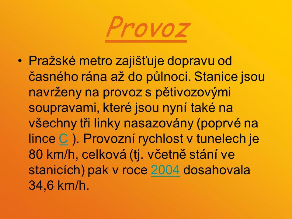 Provoz Pražské metro zajišťuje dopravu od časného rána až do půlnoci. Stanice jsou navrženy na provoz s pětivozovými soupravami, které jsou nyní také