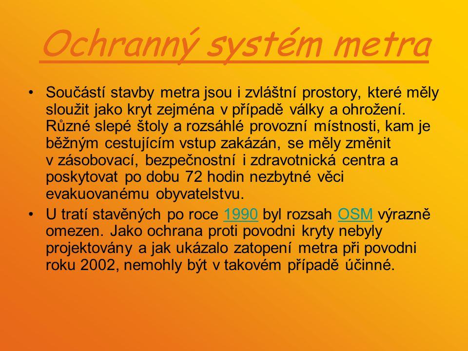 Ochranný systém metra Součástí stavby metra jsou i zvláštní prostory, které měly sloužit jako kryt zejména v případě války a ohrožení. Různé slepé što